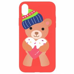Чехол для iPhone XR Bear and gingerbread