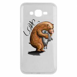 Чехол для Samsung J7 2015 Bear hugs a hare