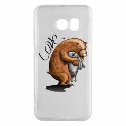 Чехол для Samsung S6 EDGE Bear hugs a hare
