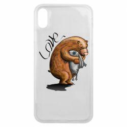 Чехол для iPhone Xs Max Bear hugs a hare