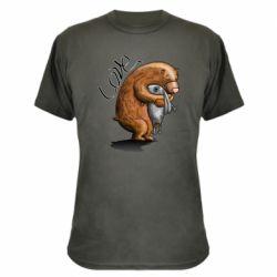 Камуфляжная футболка Bear hugs a hare