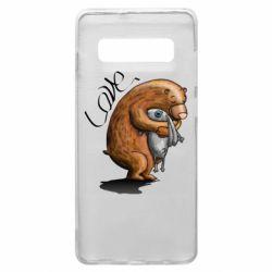 Чехол для Samsung S10+ Bear hugs a hare