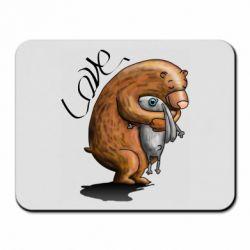 Коврик для мыши Bear hugs a hare