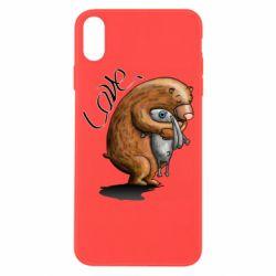 Чехол для iPhone X/Xs Bear hugs a hare