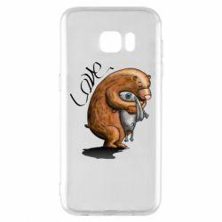 Чехол для Samsung S7 EDGE Bear hugs a hare