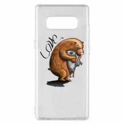 Чехол для Samsung Note 8 Bear hugs a hare
