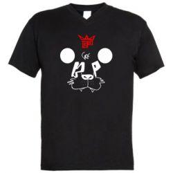 Мужская футболка  с V-образным вырезом Bear panda