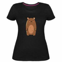 Женская стрейчевая футболка Bear with a smile