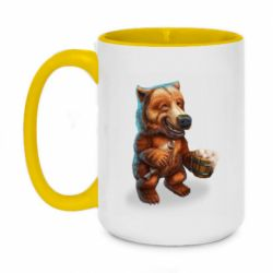 Кружка двоколірна 420ml Bear with fish and beer