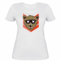 Женская футболка Bear with glasses