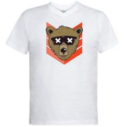 Мужская футболка  с V-образным вырезом Bear with glasses