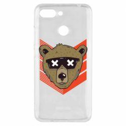 Чехол для Xiaomi Redmi 6 Bear with glasses