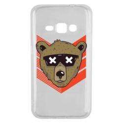 Чехол для Samsung J1 2016 Bear with glasses