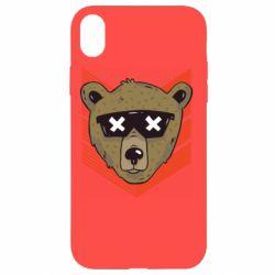 Чехол для iPhone XR Bear with glasses