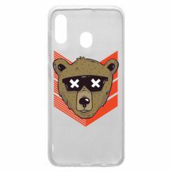 Чехол для Samsung A30 Bear with glasses