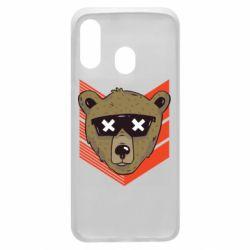 Чехол для Samsung A40 Bear with glasses