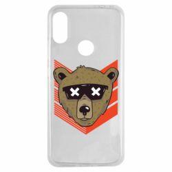 Чехол для Xiaomi Redmi Note 7 Bear with glasses