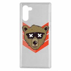 Чехол для Samsung Note 10 Bear with glasses