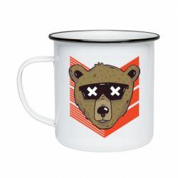 Кружка эмалированная Bear with glasses