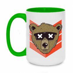 Кружка двухцветная 420ml Bear with glasses
