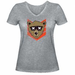 Женская футболка с V-образным вырезом Bear with glasses