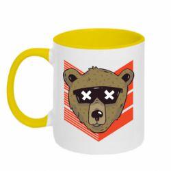 Кружка двухцветная 320ml Bear with glasses