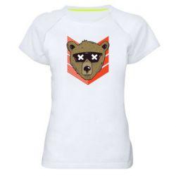 Женская спортивная футболка Bear with glasses