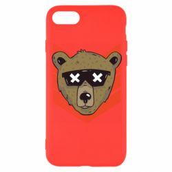 Чехол для iPhone 8 Bear with glasses
