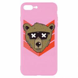Чехол для iPhone 8 Plus Bear with glasses