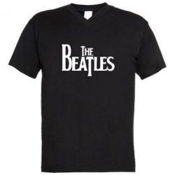 Мужская футболка  с V-образным вырезом Beatles - FatLine