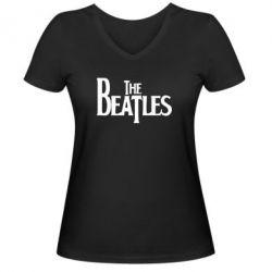 Женская футболка с V-образным вырезом Beatles - FatLine