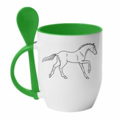 Кружка з керамічною ложкою Beautiful horse