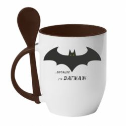 Кружка з керамічною ложкою Because i'm batman