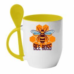 Кружка с керамической ложкой Bee Boss