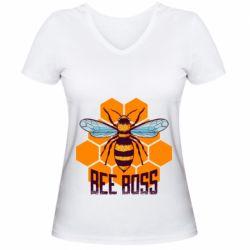 Женская футболка с V-образным вырезом Bee Boss