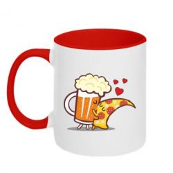 Кружка двоколірна 320ml Beer and Pizza were kissed