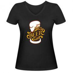 Жіноча футболка з V-подібним вирізом Beer goblet