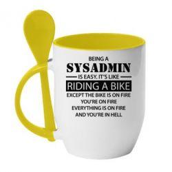 Кружка с керамической ложкой Being a sysadmin