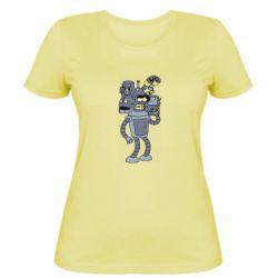 Жіноча футболка Bender and the heads of robots
