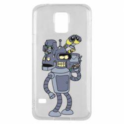 Чехол для Samsung S5 Bender and the heads of robots