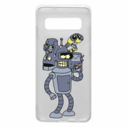 Чехол для Samsung S10 Bender and the heads of robots