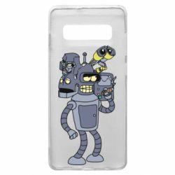 Чехол для Samsung S10+ Bender and the heads of robots