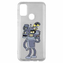 Чехол для Samsung M30s Bender and the heads of robots