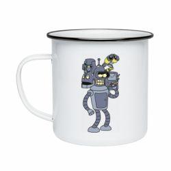 Кружка емальована Bender and the heads of robots