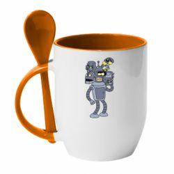 Кружка з керамічною ложкою Bender and the heads of robots