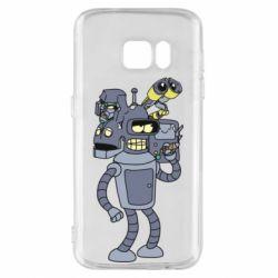 Чехол для Samsung S7 Bender and the heads of robots