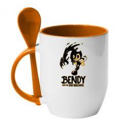 Кружка з керамічною ложкою Bendy And The Ink Machine 1