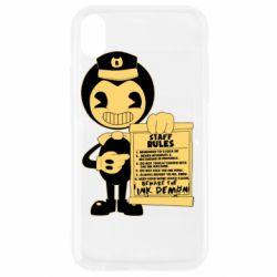 Чехол для iPhone XR Bendy and the Ink Machine staff rules