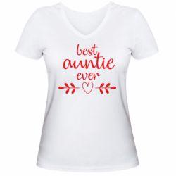 Жіноча футболка з V-подібним вирізом Best auntie ever