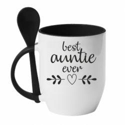Кружка з керамічною ложкою Best auntie ever